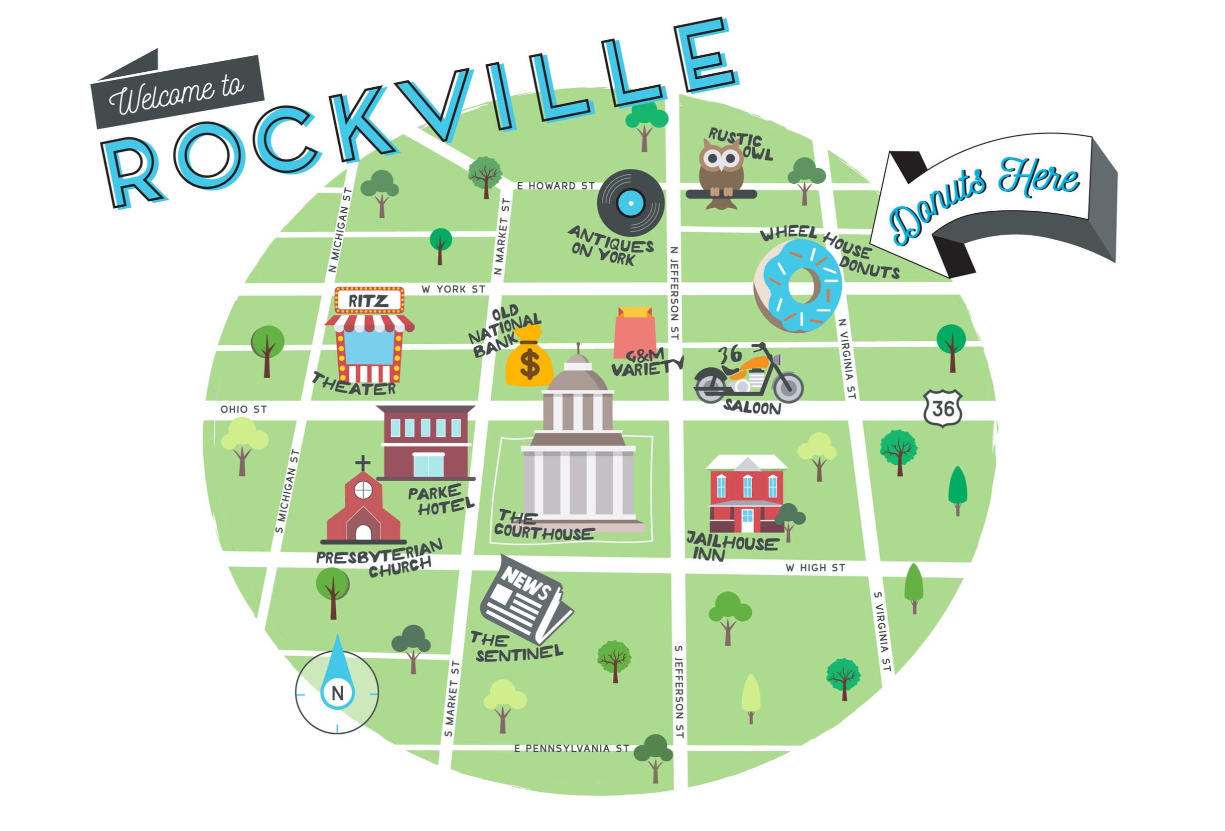 Map Illustration Rockville Indiana