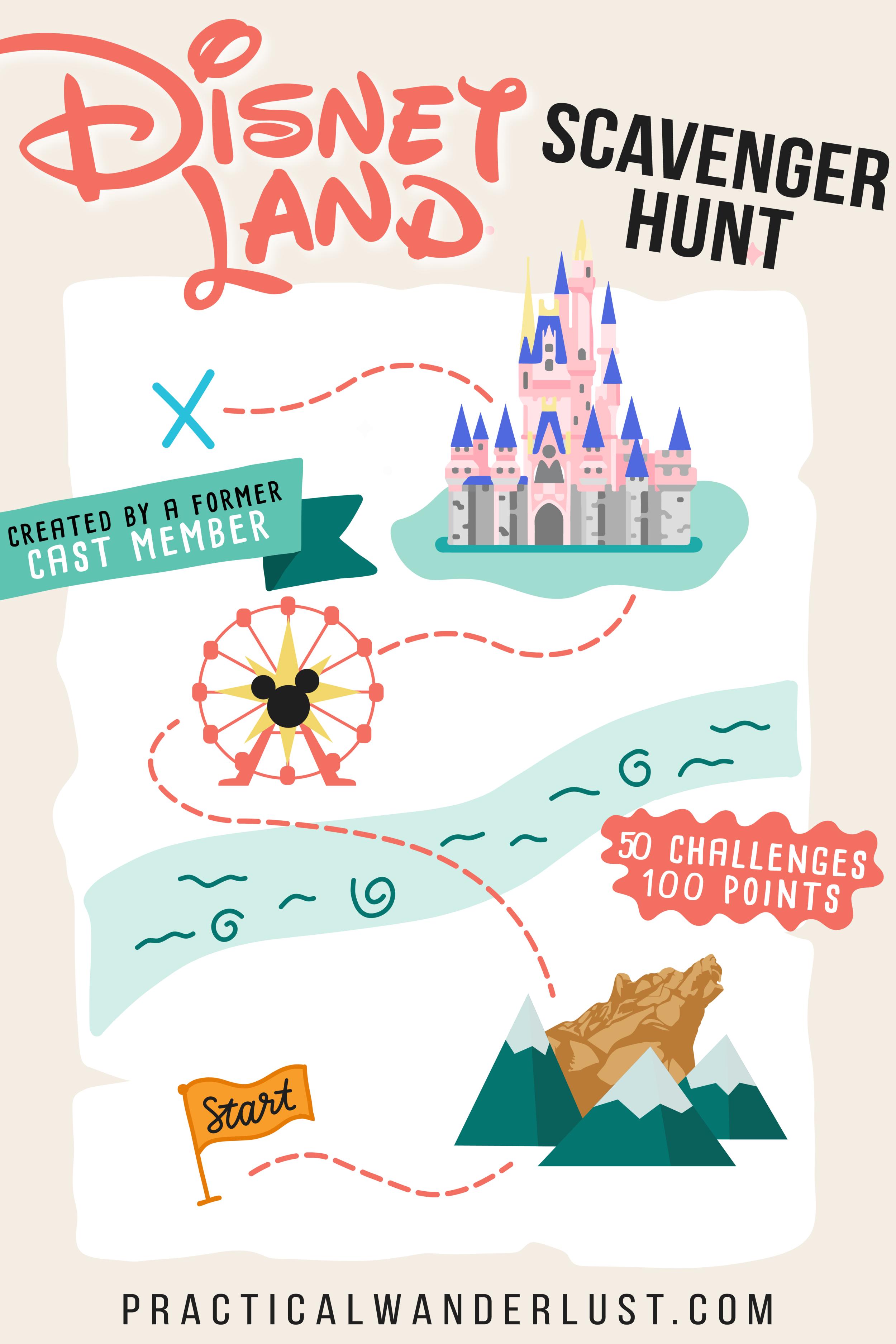 Illustrated Disney Land Scavenger Hunt Practical Wanderlust