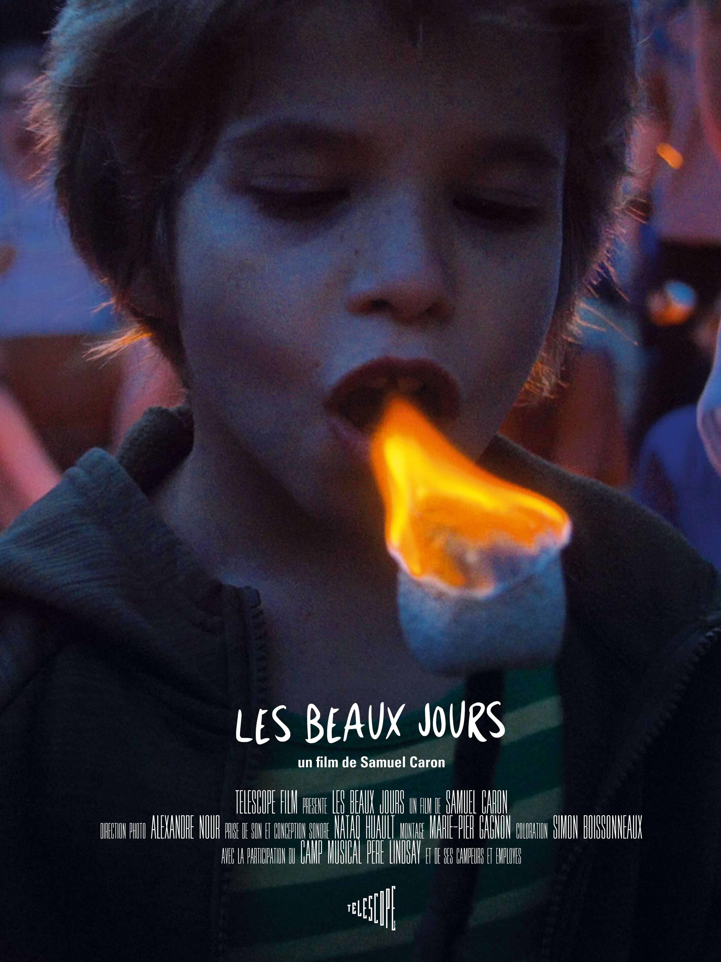 Les Beaux Jours (2017) - Documentary, MusicalSynopsisThrough the banal adventures and musical performances of the children in a musical camp in Lanaudière, Quebec, this series of contemplative frescoes offers a nostalgic view of a childhood bathed in sunlight and nature.Director : Samuel CaronProducteur : Samuel CaronCinematographer : Alexandre NourEditor : Marie-pier GrignonSound Designer : Nataq Hualt