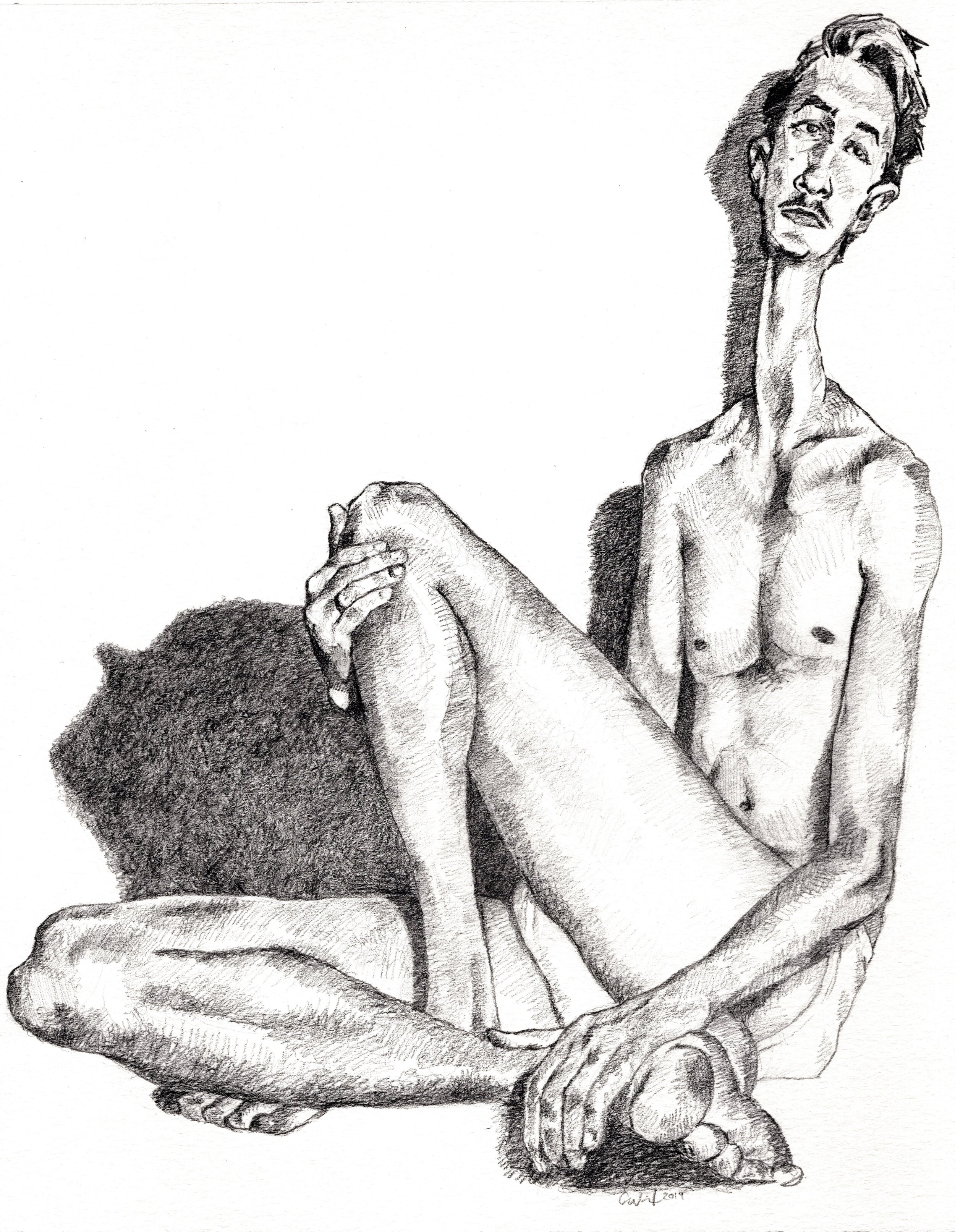 Cody Wilson  Male Figure  Graphite on paper  2019