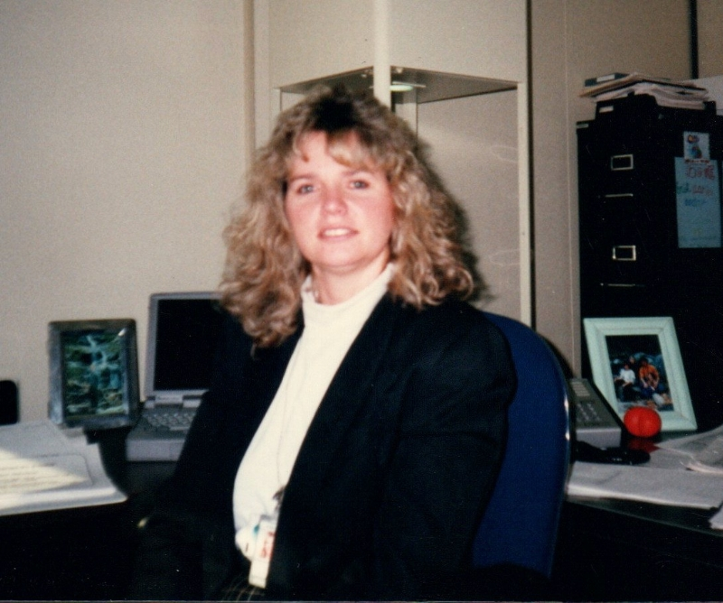 Cindy at her position with Boeing and GTE, circa 1990s.