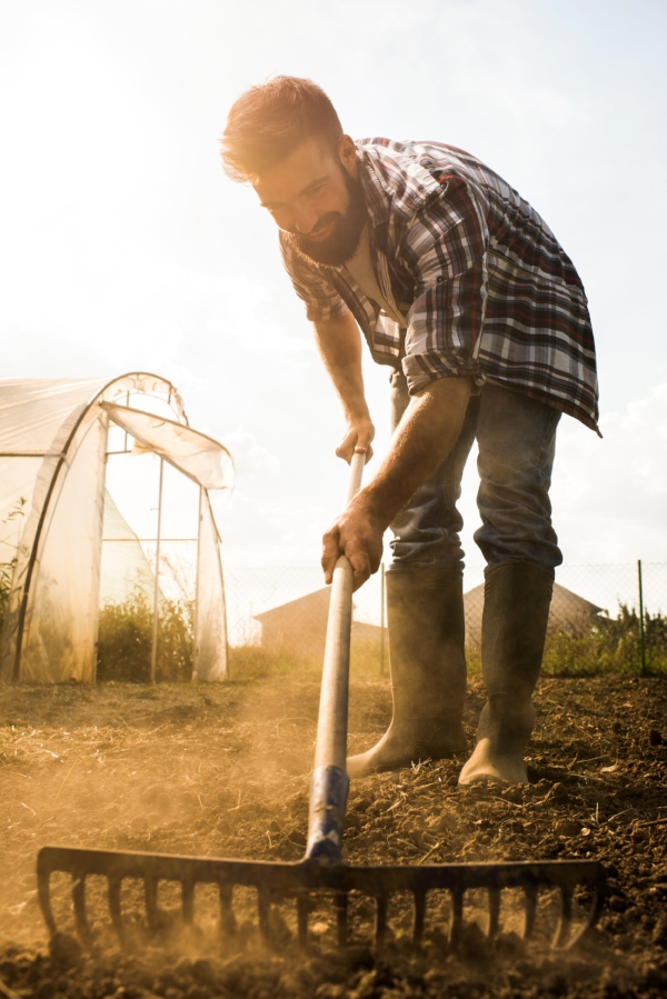 farmer hoeing in front of greenhouse.jpg