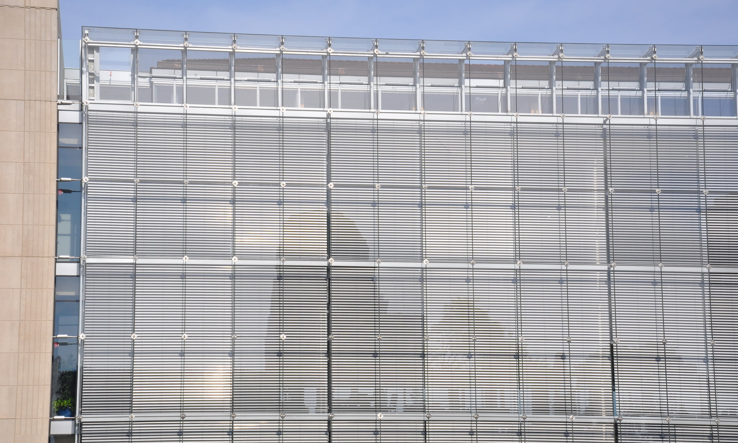 Solar Energy Systems - The structural strength and adaptability of VS1 allows for direct attachment of external shading, panels, and other solar energy systems.Pictured: Klarcheck Commons at Loyola University Chicago