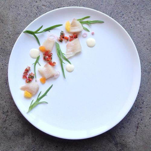 Fluke tiradito | Almonds | Sweet pepper Sofrito
