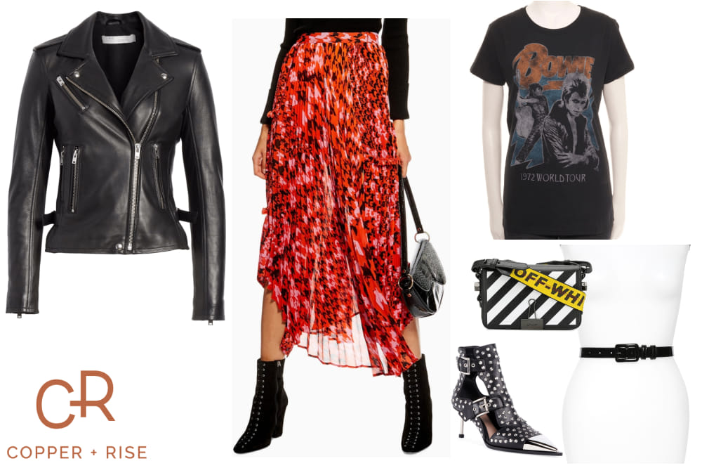 Rocker Day-to-Night Look - Rock it out. Whether you're a real rocker or a wannabe, feel kickass in this combination of hard and soft. A leather jacket paired with a flowy pleated midi skirt with killer studded booties is the perfect way to embrace your inner Ziggy Stardust.Click on the image to view the lookbook and purchase any of the items.
