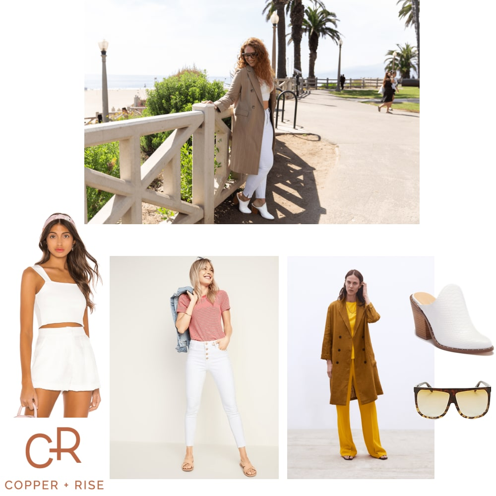 White Jeans in LA - La la land! Show a little skin with a structured overcoat for a comfortable and cool daytime look.Click on the image to view the lookbook and purchase any of the items.