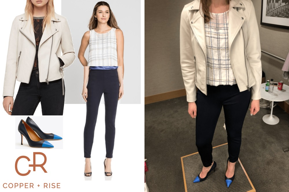Day-to-Night Look with a Cream Moto - Killer Casual Friday! A cream leather moto is the perfect way to lighten up for spring, yet still be a badass!Click on the image to view the lookbook and purchase any of the items.