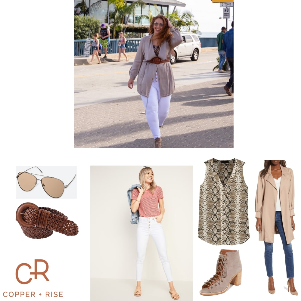 Neutrals in Santa Monica - Chic neutrals! Tan, beige, nude—whatever you call it, it's one of the biggest trends this season. But they don't have to be boring—click on the pic for more ideas!Click on the image to view the lookbook and purchase any of the items.