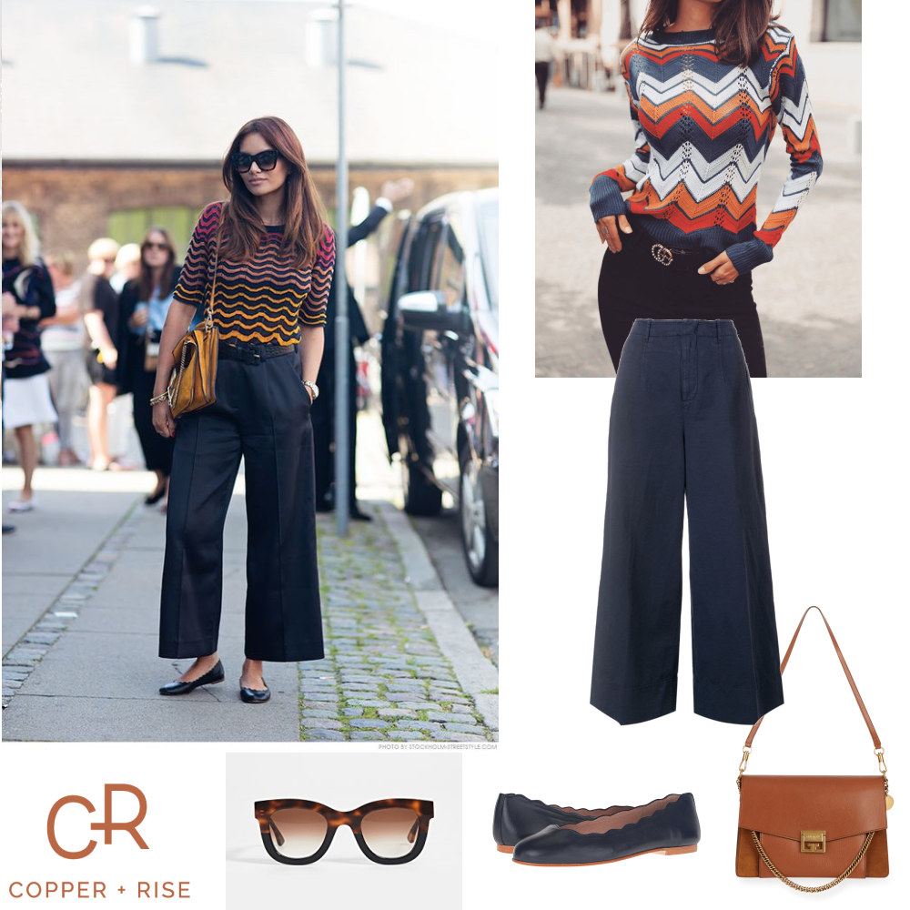 Inspired by Missoni - Chevron stripes, cropped wide leg pants, and scalloped flats...a match made in Missoni heaven. These looks are not only colorful and chic, they're comfortable too.Click on the image to view the lookbook and purchase any of the items.