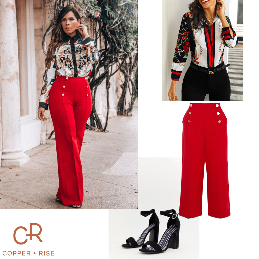 Inspired by Versace - Bold, high-waisted pants and ornate-yet-casual floral blouses go together like Italy and pasta. Add black pumps and then hit the town knowing you're embodying Italian style at its finest.Click on the image to view the lookbook and purchase any of the items.