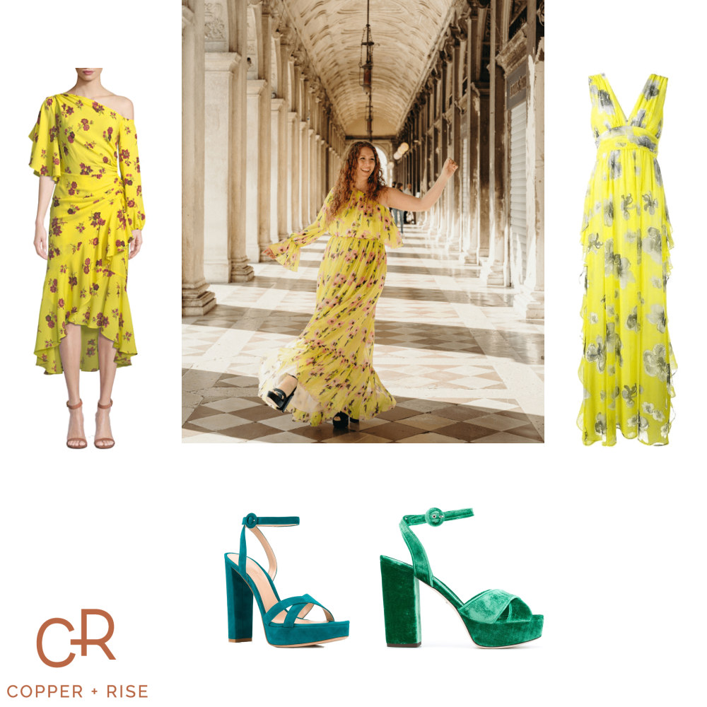 Yellow Floral Dress in Venice -