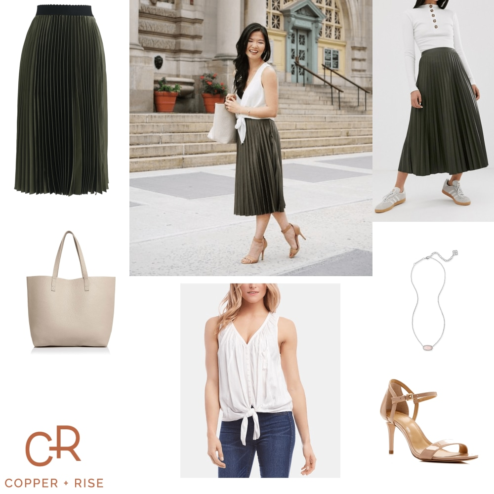 Bossbabe Essentials - Pleated Midi Skirt -