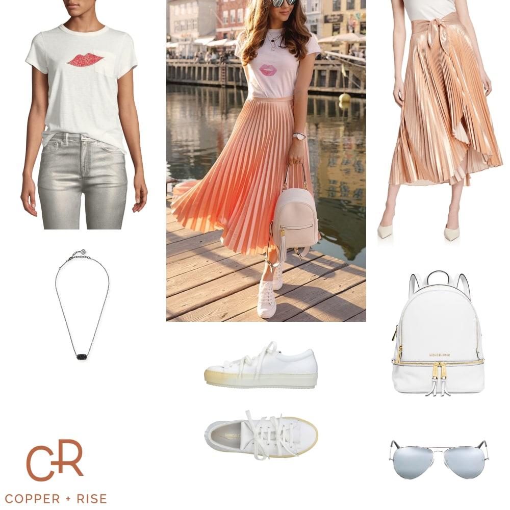 Pleated Midi Skirt and Sneaks -