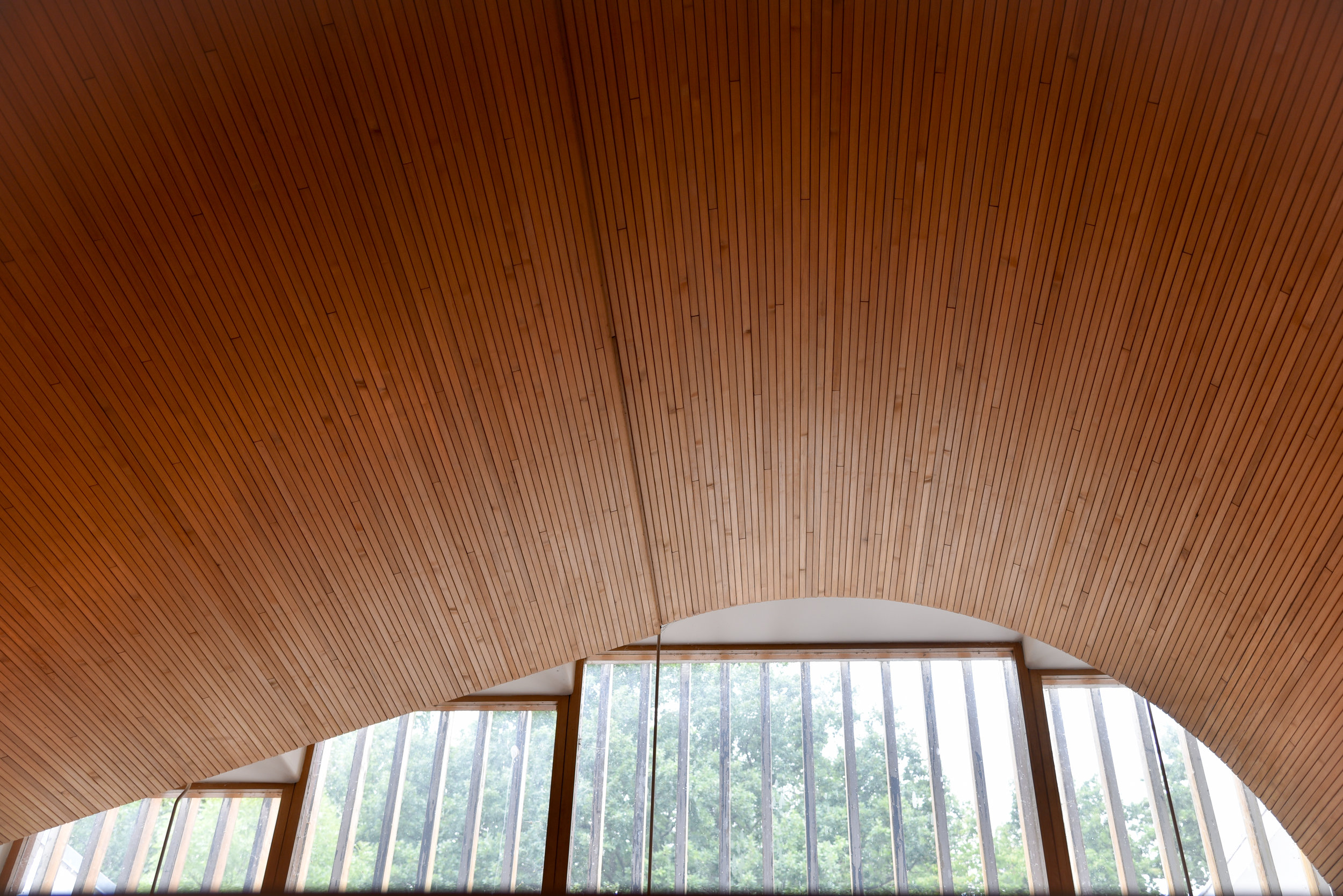 entrance gallery: free form vaulted ceiling, finnish red pine