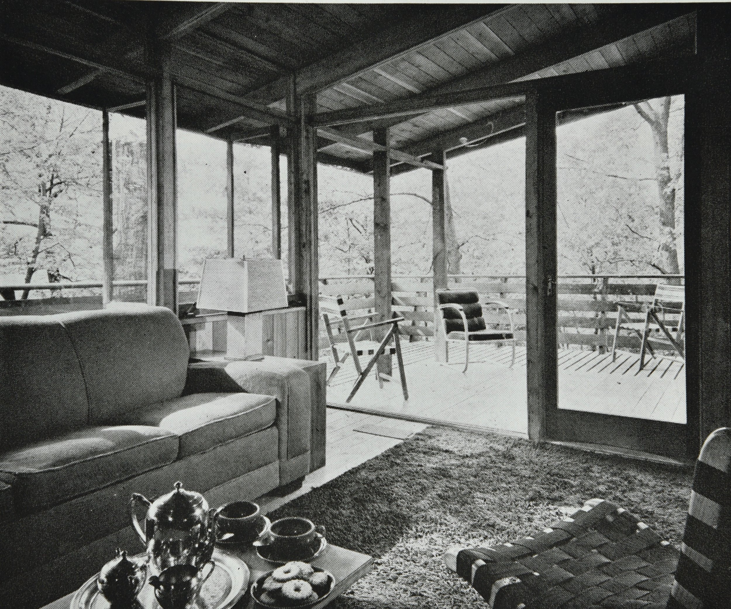Living room looking out to cantilever porch, 1950