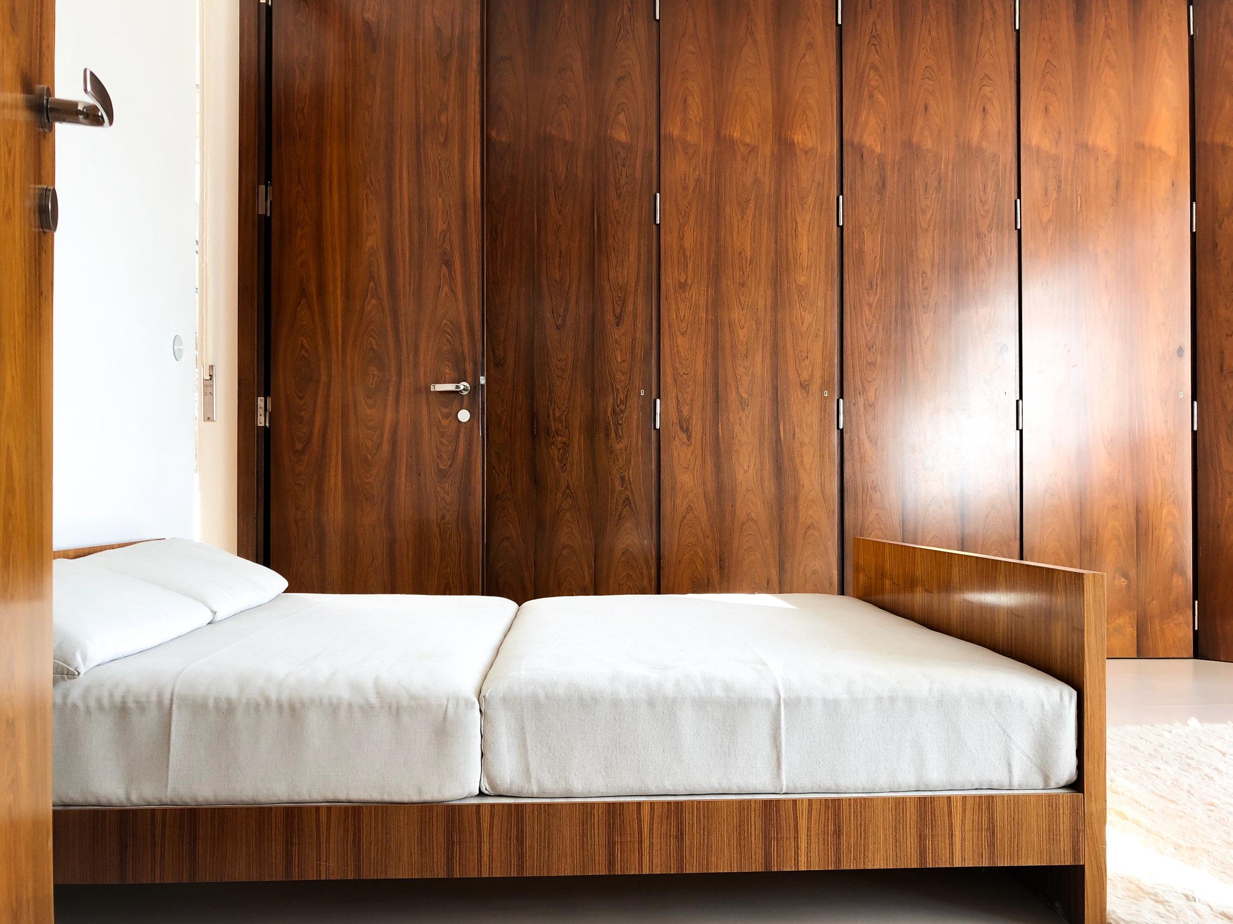 grete tugendhat's bedroom with built-in closets, rosewood veneer