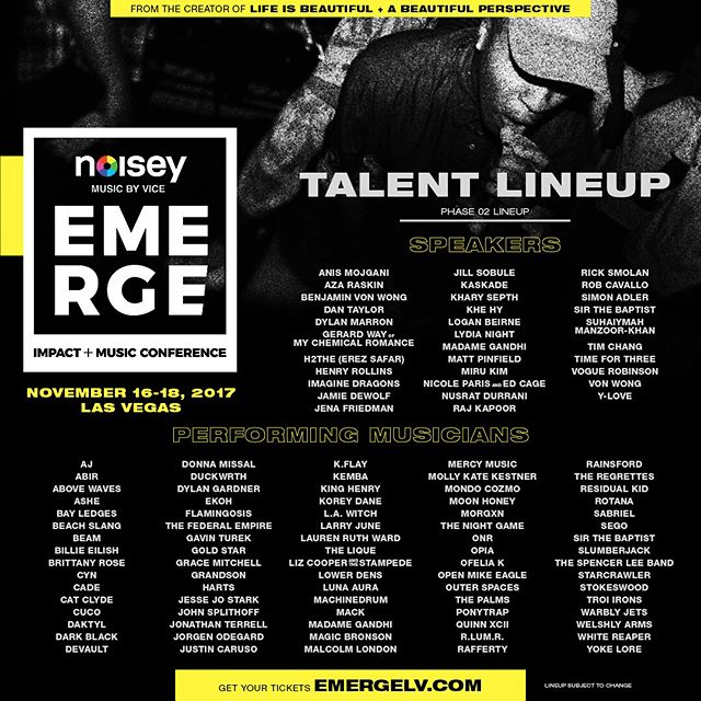 So excited to announce that I'll be performing at the Emerge Impact + Music Conference in Vegas,  Nov 16-18! Speakers include @imaginedragons , @kaskade , & @gerardway. Get tickets and more details about the lineup here: emergelv.com @emergelv @noisey 🌹🌹