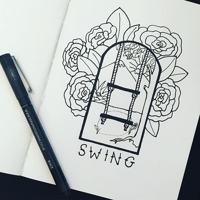 Growing up in #yuciapa  my dad built a swing with two seats. (One for me one for my sister) It was amazing and dangerous, like all the best things are.  It didn't really work, we kept kicking each other in the face. But what a metaphor for #love & #family . . . . #memories #creativeprocess #freelancegraphicdesign #graphicdesigner #graphicdesigner #ink #fineliner #illustration #sketchbook #sketch #derwentgraphik #whilethebabysleeps #handlettering #roses #swing #california #childhood