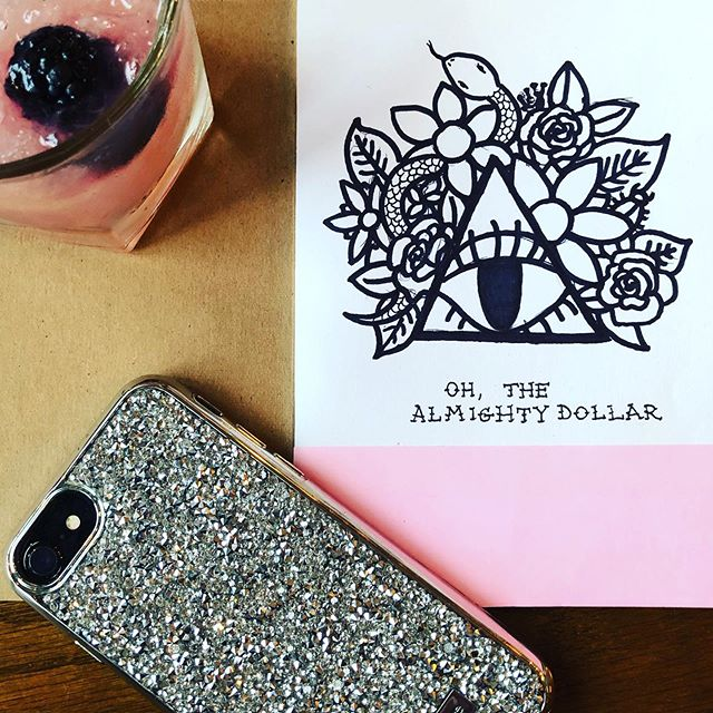 Oh! The all mighty dollar.  Staring the #sketchbookproject, my badass illustrating momma @annemarieperks snagged me one 🖤 good excuse to create for the sake of creating  #lineart #handdrawing #penandink #almightydollar #graphicdesigner #freelance #sketchmore #careless