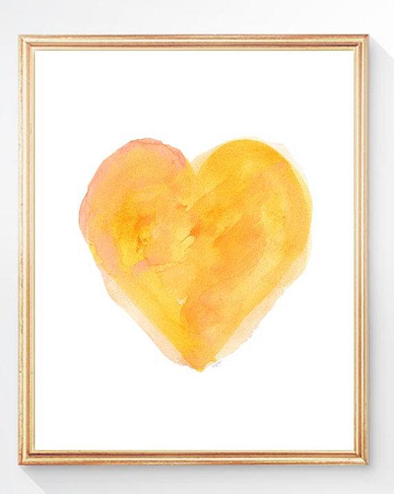 Yellow Heart Watercolor from  OutsideInArtStudio  on Etsy