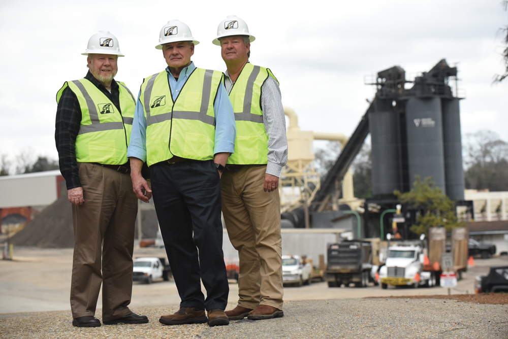 Construction Partners leadership team, from left, CFO Alan Palmer, CEO Charles Owens and Senior VP John Harper, who is also president of Wiregrass Construction. Photo by Jay Hare