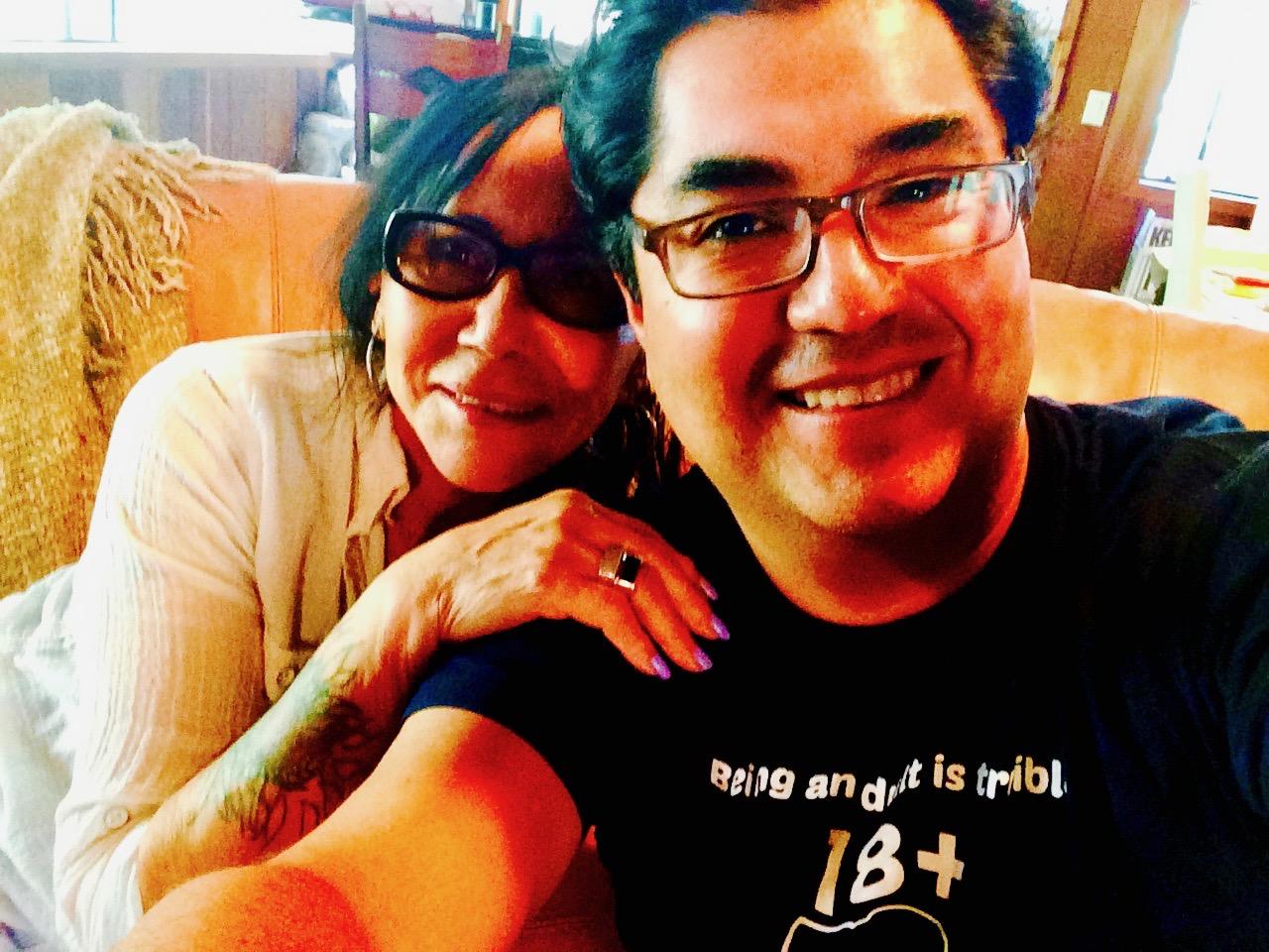 Anita Acosta and Podcast Host Marcos Nájera take a break from talking.