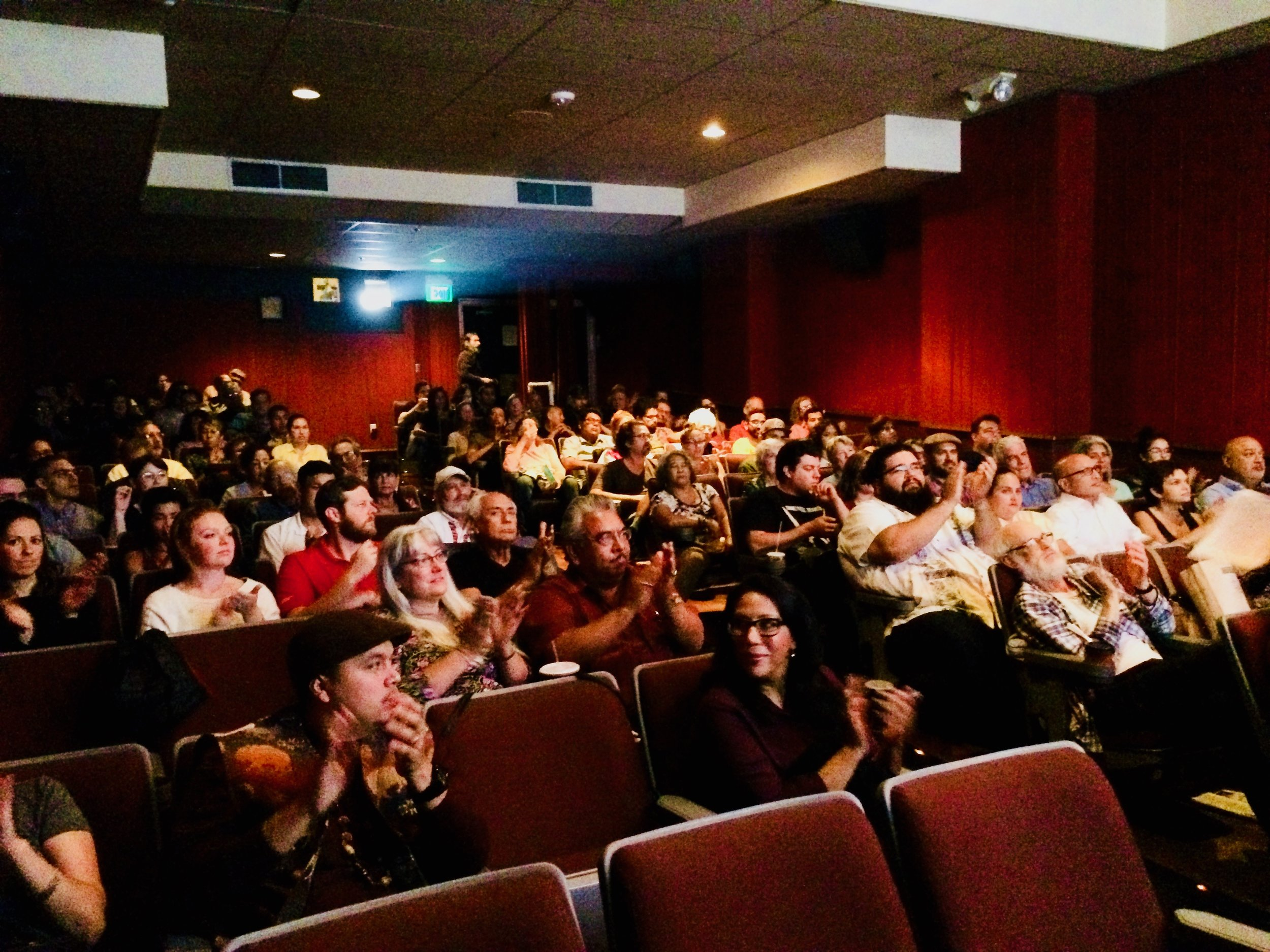 """Audience members fill the house at the San Francisco Latino Film Festival premier of """"The Rise and Fall of the Brown Buffalo."""""""