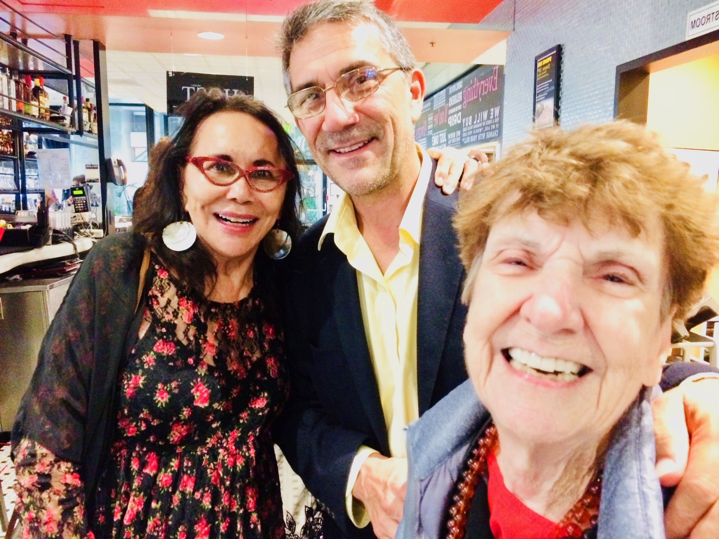 [Clockwise from left] Anita Acosta (Oscar's Sister),Marco Acosta (Oscar's son)and Betty Dowd (Oscar's first wife) share a laugh at the San Francisco Latino Film Festival afterparty inside Max's Opera Cafe.
