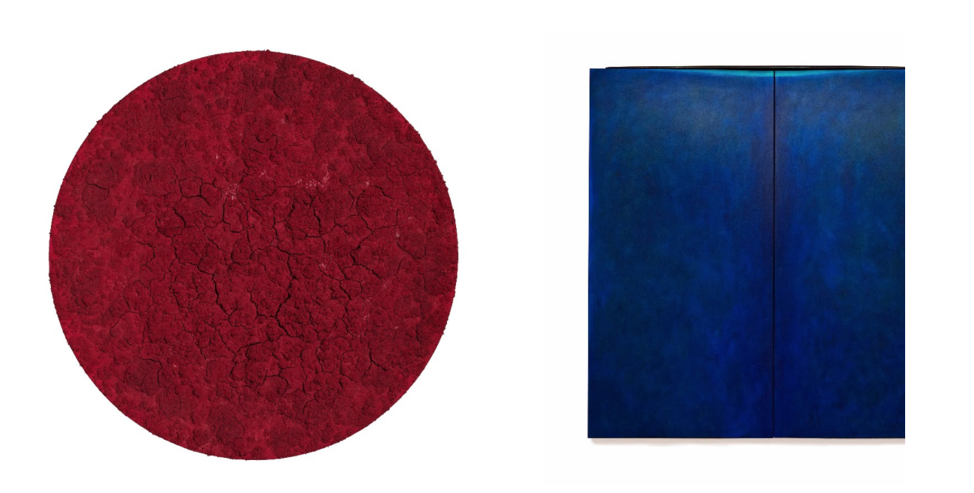 Left to Right: Bosco Sodi,  Untitled , 2016.  Mixed media on canvas. 73 1/4 x 73 1/4 inches. ©Bosco Sodi; Courtesy of Paul Kasmin Gallery.  Robert Yasuda,  The Deep , 2017. Acrylic on fabric on wood. 72 x 72 inches. ©Robert Yasuda; Courtesy of Robert Yasuda.