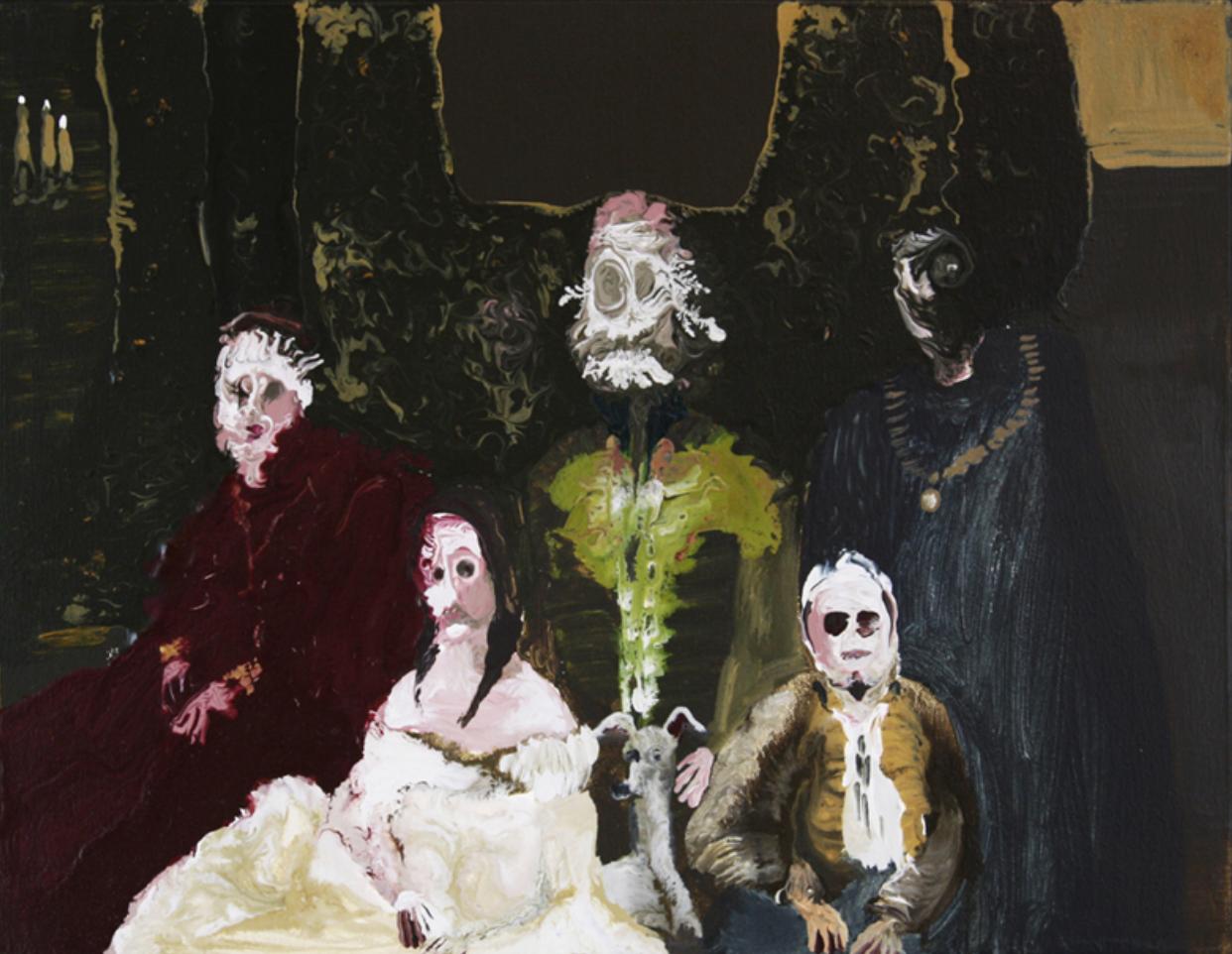 Genieve Figgis, Royal Friends, 2014. Acrylic on canvas. 16 x 20 inches.©Genieve Figgis; Courtesy of Harper's Books.