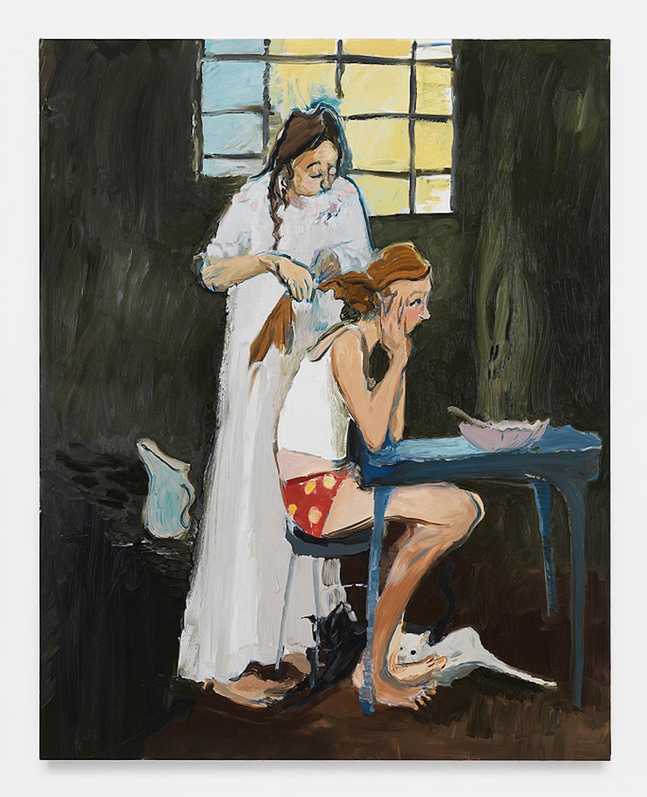 Jane Corrigan,  Morning (I'm scared Mo  m) , 2015. Oil on linen.70 x 55 inches.©Jane Corrigan; Courtesy of MARINARO gallery.