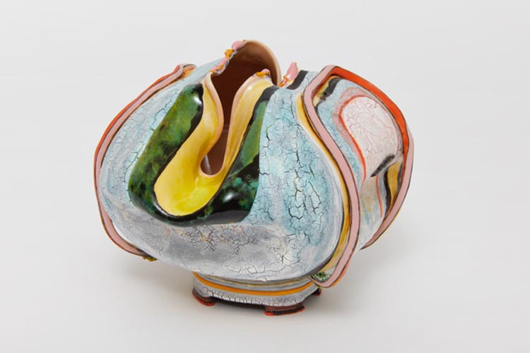 Inside Out , 2018, clay, glaze, 4 3/4 x 6 1/2 x 5 1/8 inches