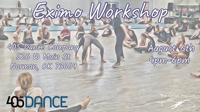 "WORKSHOP OPPORTUNITY: Join us August 6th for The Eximo Project! $50, OPEN TO THE PUBLIC!  Register online at 405dance.org • • • • • • • • • • • • • • • • • • • • • • • • • • • • ""Explore. Integrate. Create."" Eximo's mantra for its practices. Eximo was founded in 2015 and in just four
