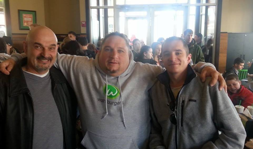 My father and I with Nacho from the tv show The Wahlburgers.