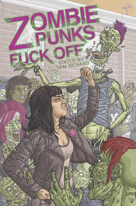 We've been hearing forever that Punk is Dead. - And zombies stories are even deader. ZOMBIE PUNKS, FUCK OFF is here to show that is bullshit. Within these pages are a touring Christian Punk band run afoul of a horde of living dead, a group of zombie-infected anarcho-punks staging a revolution in London, Hank William's far-distant great-grandson struggling against the restraints of universal fame, and guitars that gently eat.
