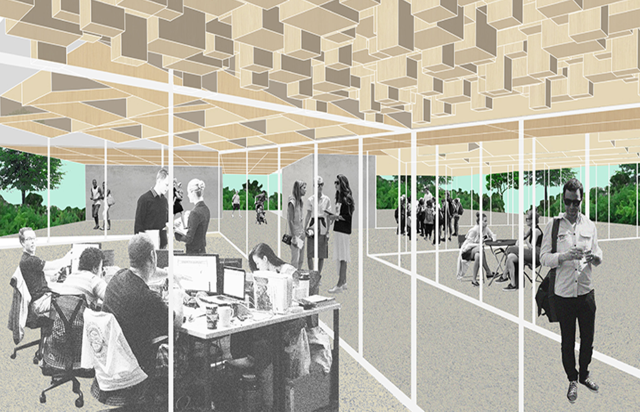 Collective Area with the Absorption Acoustic Ceiling for Learning how to listen