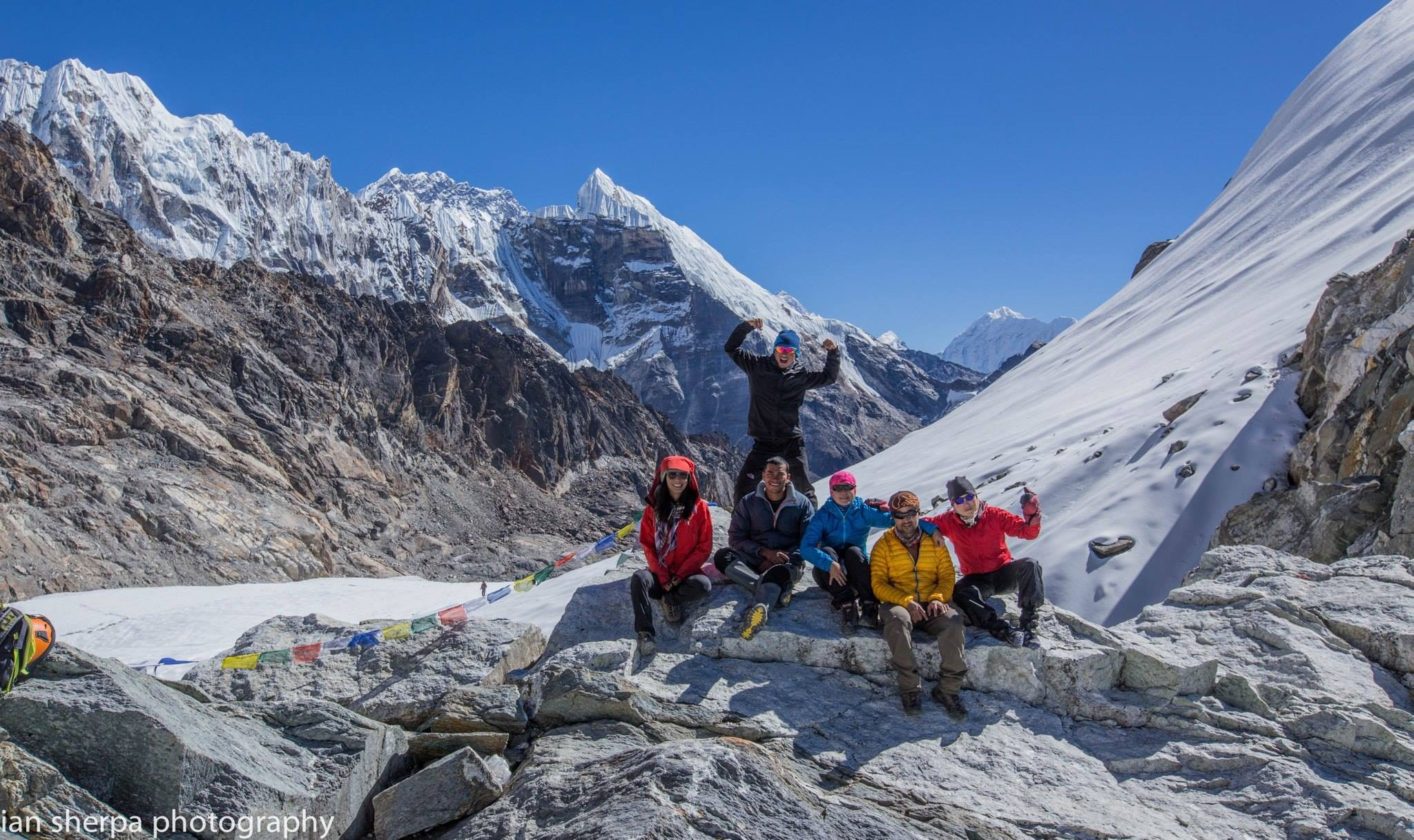 Our crew at Chola Pass, photo by Ian Chung
