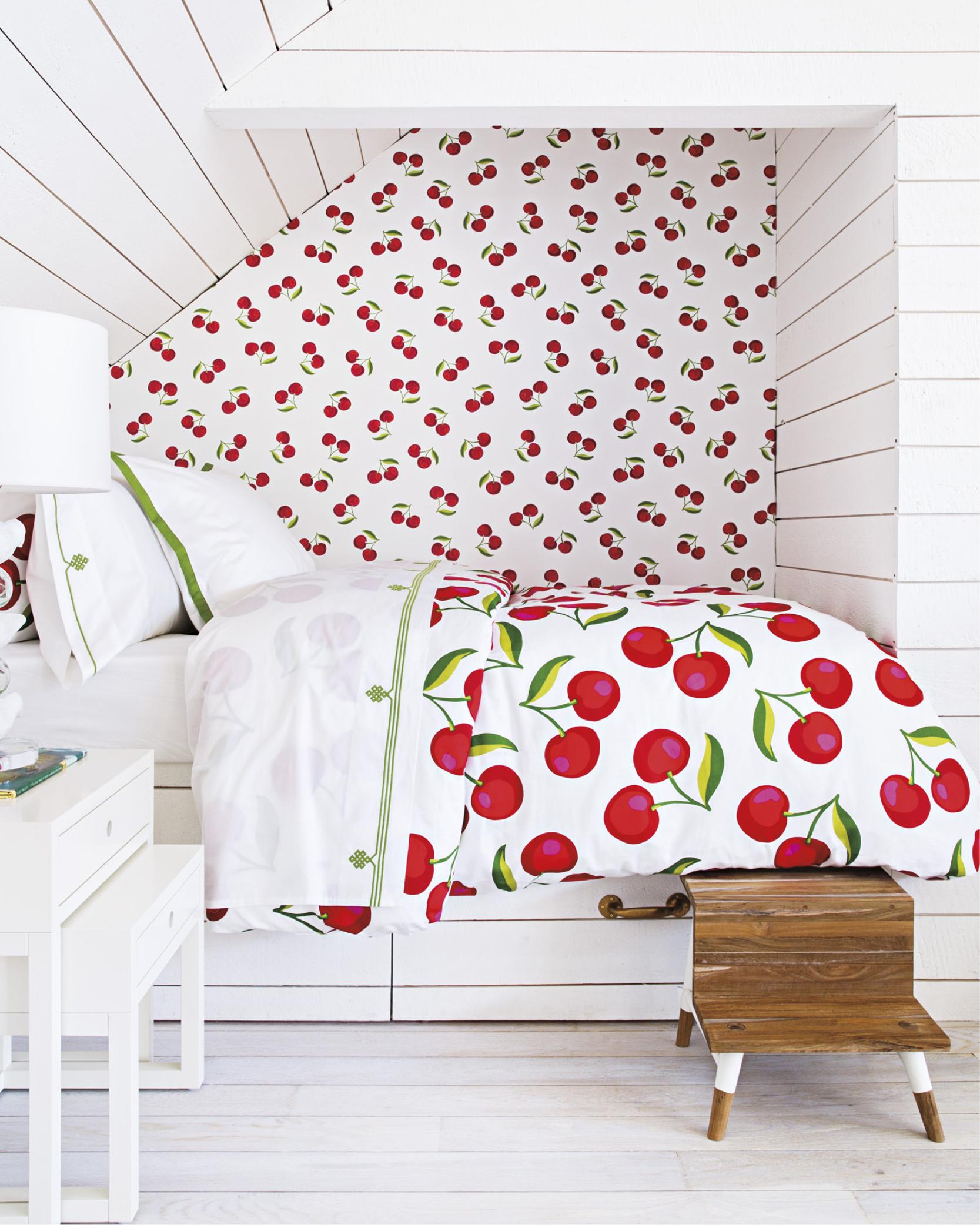 Cherries bedding and wallpaper shown in-situ Serena & Lily store, Westport, CT