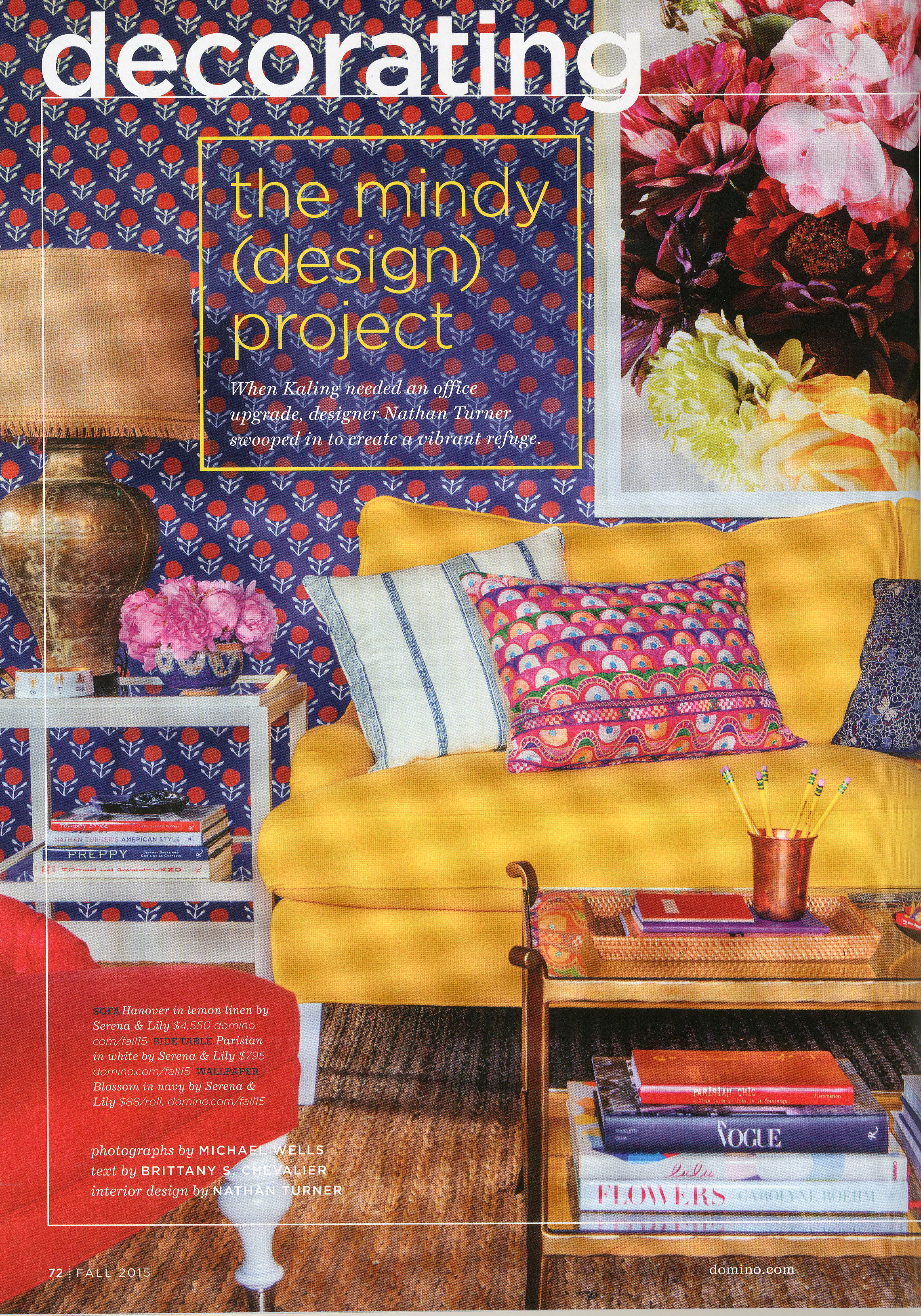 Wallpaper: Domino Magazine, Living room for Mindy Kaling designed by Nathan Turner,2015. (Photographer: Michael Wells)