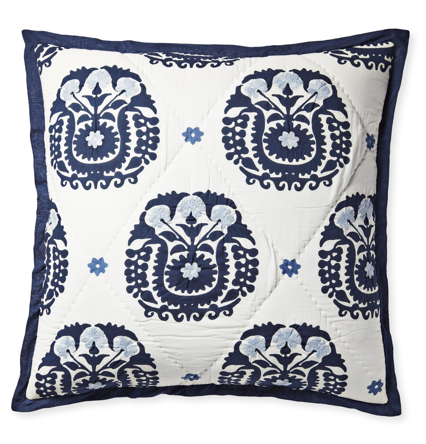Blockprinted, embroidered and quilted bedding (Designed for Serena & Lily)