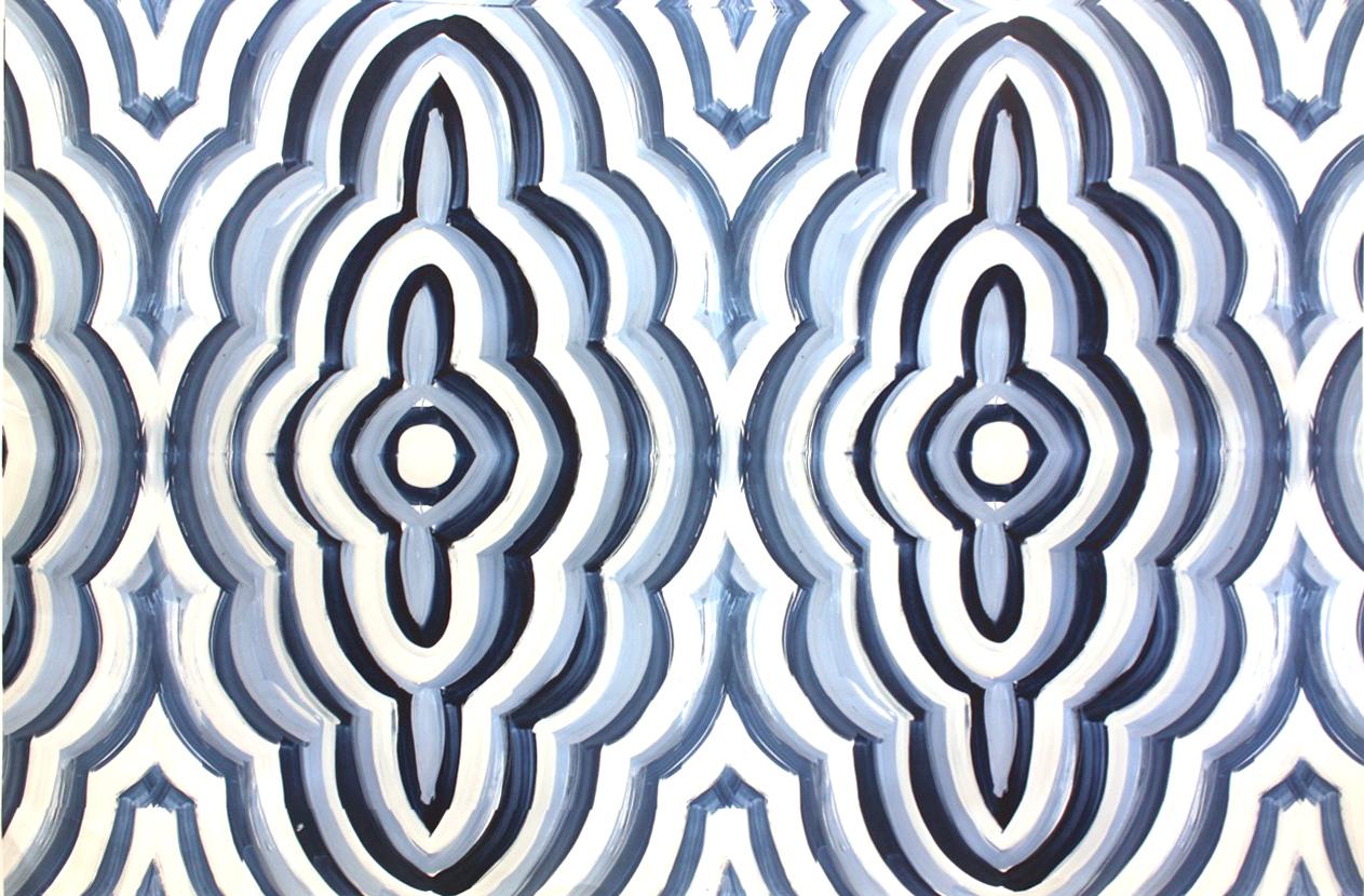 Guache painting - origination of a textile print Designed 2016