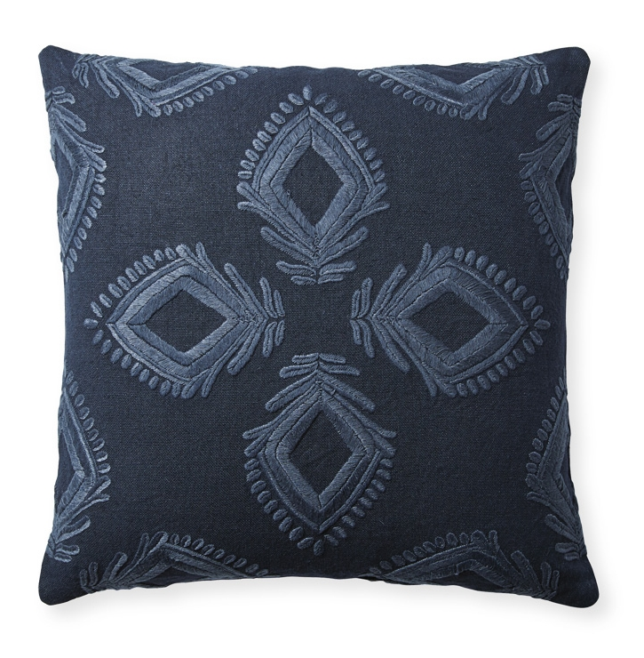 Embroidered linen pillow (Designed for Serena & Lily)