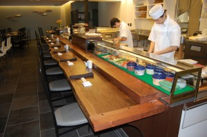 The walnut counter was made from a sustainably harvested tree in Asheville, NC.