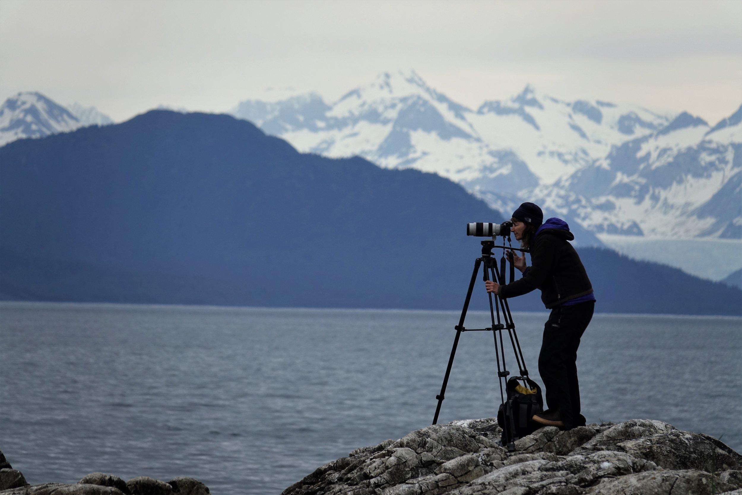 Filming for  The Singing Planet  in Glacier Bay National Park, Alaska.