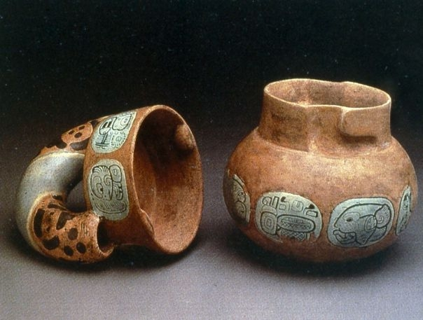 Ancient vessels used to drink cocoa.