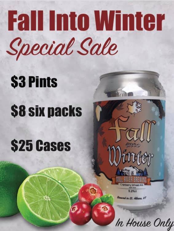 Spring Cleaning… - In house only, we have a sweet deal for you! We need more room, so out with the old in with the new. As Spring into Summer gets ready to pour and canned it's time for some spring cleaning! Our Fall into Winter, although delicious is no longer in season. Stop by the Smokehouse to pick up a pint, six pack or case for a discounted price! (in house only)