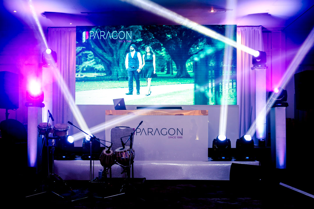 LED WALL - A party style atmosphere with led split wall displaying motion graphics in mood with the party!