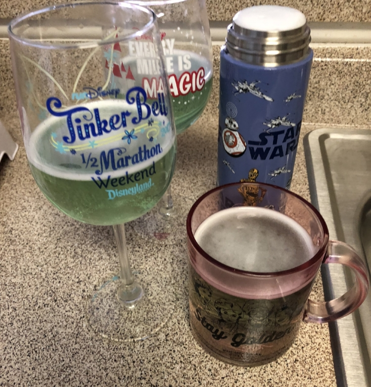 I use denture tablets to clean my coffee cups and wine glasses as well.