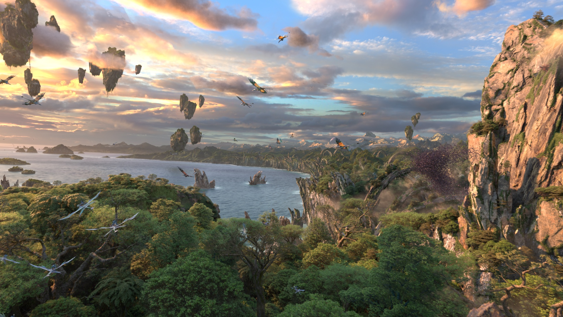 "Pictured: A scene from Avatar Flight of Passage, a 3-D thrilling adventure on Pandora � The World of Avatar at Disney's Animal Kingdom. Avatar Flight of Passage offers guests the chance to connect with an avatar and soar on a banshee over Pandora. The journey begins in the queue, as guests get a peek inside a high-tech research lab to view an avatar still in its growth state inside an amnio tank. The room features charts and screens that show just how humans will ""connect"" with a fully developed avatar for their upcoming flight on a banshee. (Disney Handout)"