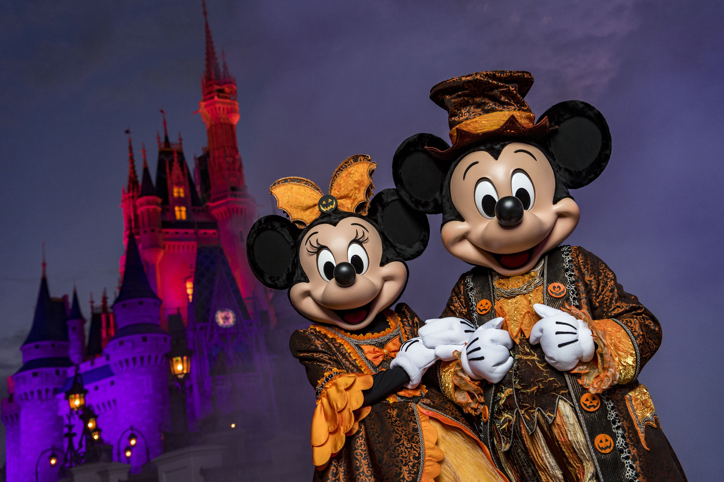 Eerie lighting, fall d�cor and Mickey Mouse-shaped Jack-O-Lanterns set the stage at Magic Kingdom for Mickey�s Not-So-Scary Halloween Party. The family-friendly after-hours event offers trick-or-treating, meet and greets with favorite characters in costume, plus the must-see �Mickey�s Boo-to-You Halloween Parade� and �Happy HalloWishes� fireworks display. Mickey�s Not-So-Scary Halloween Party is a special ticket event and takes place on select nights each fall at Walt Disney World Resort in Lake Buena Vista, Fla.  (Matt Stroshane, photographer)
